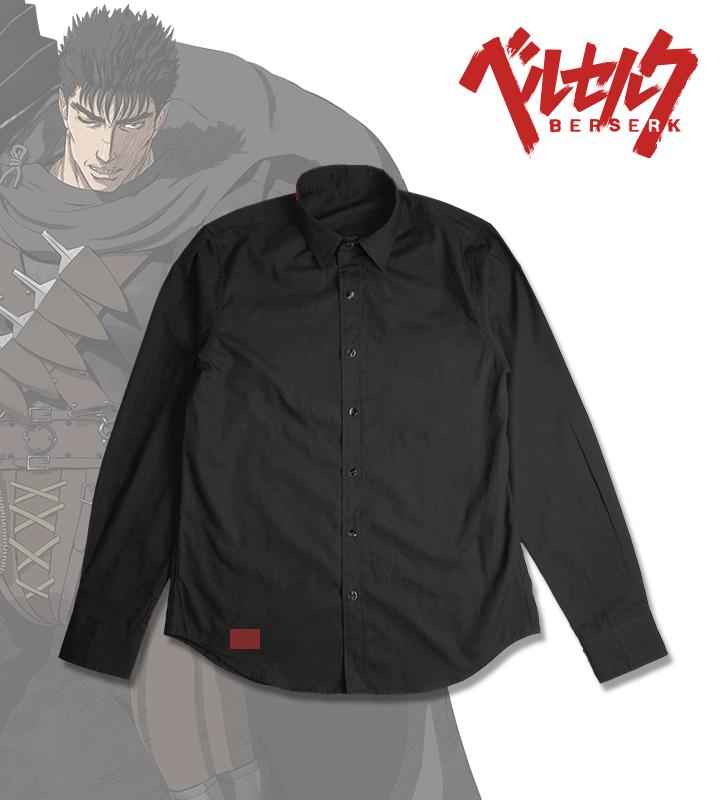 烙印ブラックブロードシャツ
