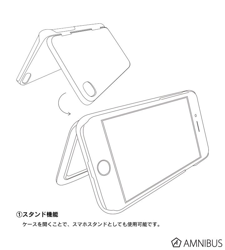 多機能iPhoneケース【ICカード入れ・鏡付き】(モルガナ)